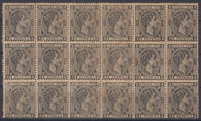 1876-118 SPAIN ANT 1 Pta. 1876. ALFONSO XII. Ed.38. BLOCK OF 18. NO GUM.