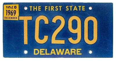 Rare Delaware 1969 TOW CAR License Plate, TC290, Rivet Numbers, Nice Quality