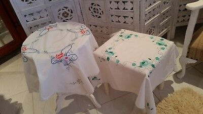 Cotton Embroidered Table Cloths Small  Square X 2 (B3)