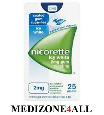 Nicorette 2mg Icy White Chewing Gum Nicotine Replacement Therapy FREE UK POST