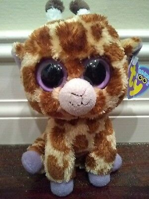 Ty Beanie Boo Safari Giraffe Purple Feet Solid Eyes Plush Stuffed