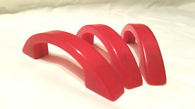 Lot Of 3 Vintage Red Plastic Drawer Pulls Cabinet Pulls Early Plastic Red Hot!