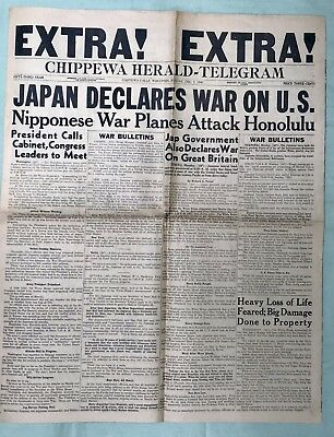 Pearl Harbor EXTRA Newspaper Edition -Dec 7, 1941 - Chippewa Falls