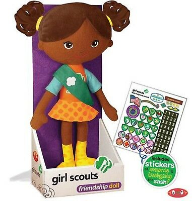 NIB Girl Scouts Friendship Doll Carly Sash, Stickers Insignia African American