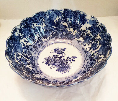Large Meiji Period Japanese Blue & White Hand Painted Pottery Hidden Birds Bowl