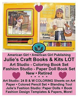 AMERICAN GIRL_JULIE ART Set COLORING BOOK & Fashion Design ...