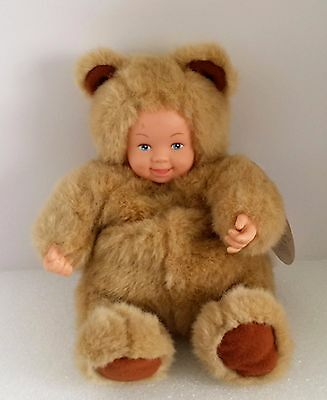 Anne Geddes Teddy Bear Baby Doll Plush Bean Filled Tan Brown Blue Eyes 8""