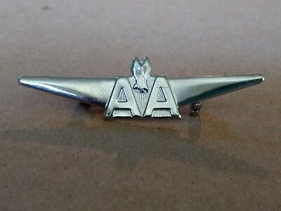 """Vintage American Airlines 2"""" Silver Tone Wings Pin"""
