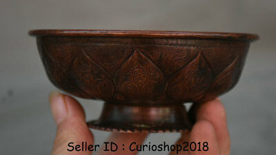 """4.8"""" Antique Old Chinese Red Bronze Dynasty Palace Lotus Flower Bowl Bowls"""