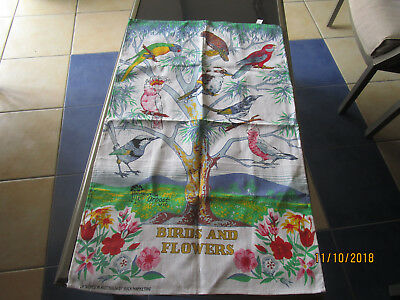 100% Cotton Tea Towel - Birds And Flowers - Greetings From Orbost Vic