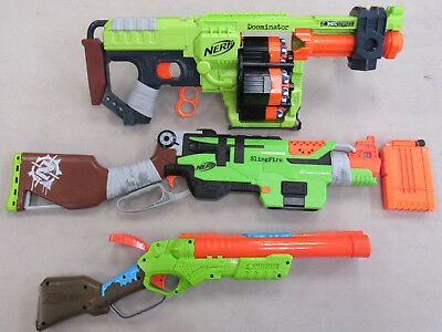 Lot of 3 Nerf Zombie Strike dart guns PREOWNED TESTED WORKS W/ DARTS