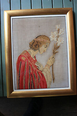 Antique handmade silk & wool tapestry of the angel Gabriel with a lily, 35x47cm