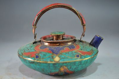 Fine Quality Collection Antique Turquoise Inlaid Red Corals Teapot Decorate