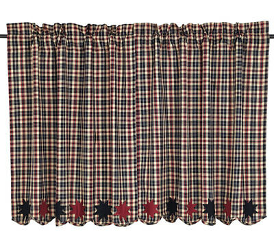 "CARSON STAR SCALLOPED 36"" TIER SET COUNTRY PRIMITIVE Black and Burgundy Plaid**"