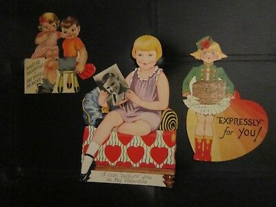 Vintage Valentines, Lot of 3 Cards, 1930's 1940's 1950s PHOTO TRAVEL GIRLS EASEL