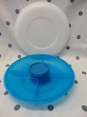 Tupperware Small Junior Serving Centre Blue with Dip Bowl NEW