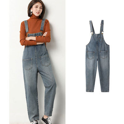 women's jean suspenders loose classic vintage Korean style casual trousers girl