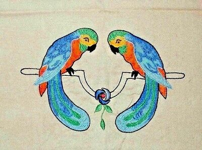STUNNING Vibrant Vintage Hand Embroidered Linen Parrots Birds Table Runner Cloth