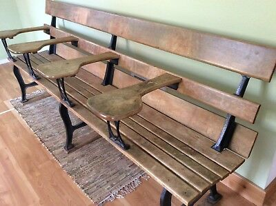 Univ. of Michigan 4 seat antique school bench, wood and iron, great condition