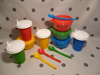 Tupperware Baby Infant Toddler Feeding Set Sippy Cups Bowls Spoons New