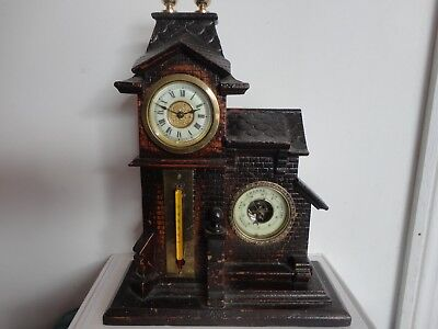 Antique ansonia clock with thermometer and barometer, working