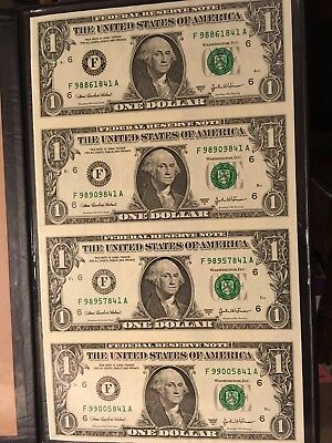 Uncut United States One Dollar Notes