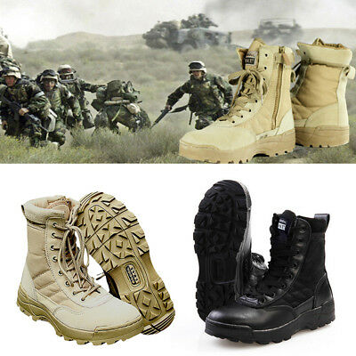 Men Army Tactical Combat Military Zipper Ankle Boots Hiking Desert Shoes Outdoor