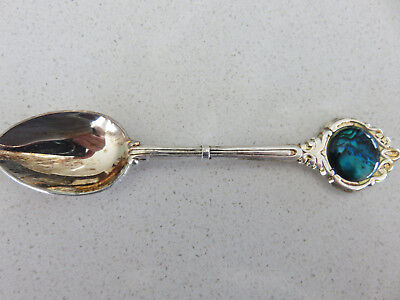 Old New Zealand Souvenir Silver Plated Spoon With Palau Shell