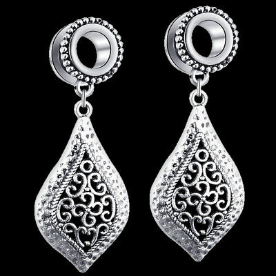 Pair of Antique Silver Pendant Stainless Steel Ear Tunnels Screw Gauges Earrings