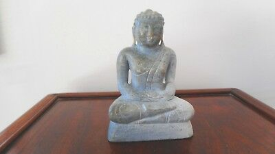 Antique Chinese Carved Grey / Green Jade Stone Budha