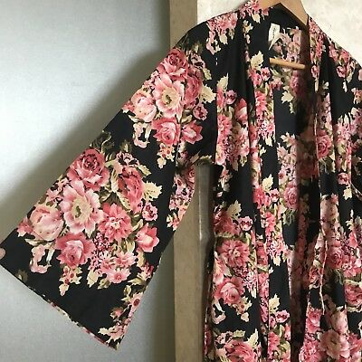S/m Floral Bathrobe Robe Cotton Black Pink Bridesmaid Lightweight Dressing Gown