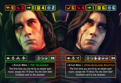 X-Wing Miniatures - Custom Alt Card - Kylo Ren (TIE Silencer/Upsilon Shuttle)