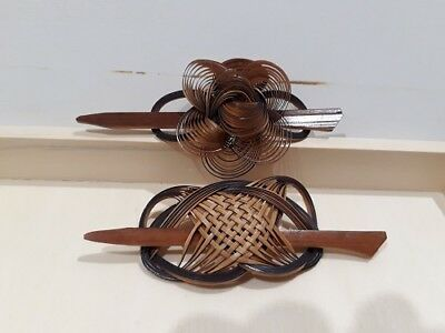 Vintage Bamboo Barrettes Made In Korea