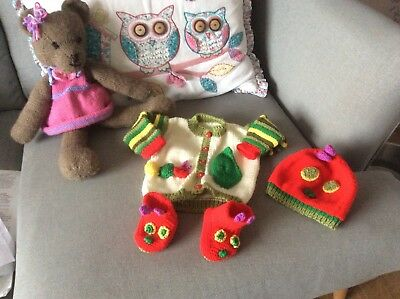 Hand Knitted Baby Cardigan Set. Hungry Caterpillar Design.