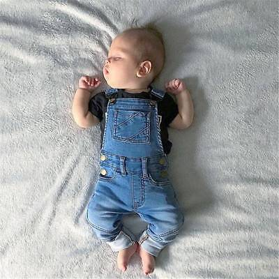 AU Toddler Kids Baby Boy Girl Denim Clothes Dungarees Jumpsuit Jeans Long Pants