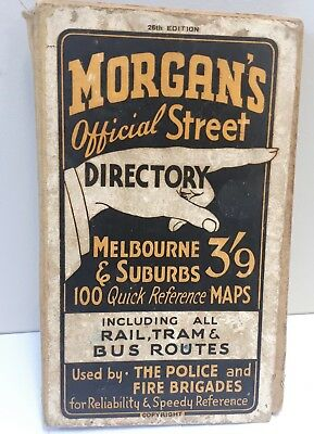 Vintage 1945 Morgan's 26th Edition / Large Melb Map Street Directory–Collectable