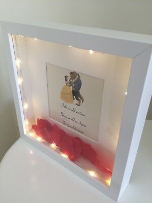 *Beauty And The Beast Disney Enchanted Rose White Box Frame Picture Lamp Light*