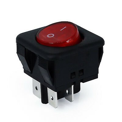 Rocker Switch Red LED Light 250V 16A 4-Pin 2-Position ON OFF RK1-05 Power Switch