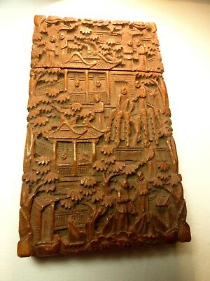 Fine Antique Chinese Canton Cantonese Sandalwood Figural Carved Card Case Box