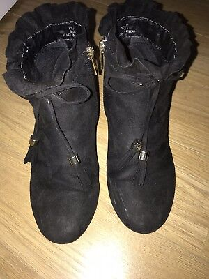 girls River Island Suede Black Boots Heeled size 2