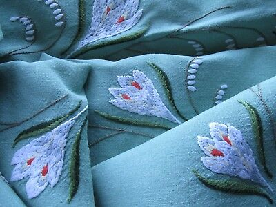 Stunning!Vintage Hand Embroidered Green Linen Tablecloth-BEAUTIFUL SPRING CROCUS