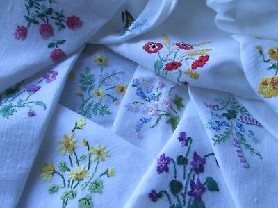 Vintage Hand Embroidered Linen Tablecloth-BEAUTIFUL MINIATURE WILD FLOWERS
