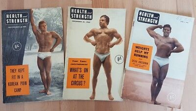 3 Health and Strength bodybuilding magazines 1953