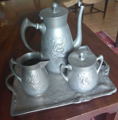4Piece Antique C.1900 Art Nouveau Kayserzinn Iris Poppy Pewter Coffee Pot Set