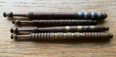 4 Antique Wood Wooden Turned Pewter & Wired Lace Bobbins Maker Bobbin Brown
