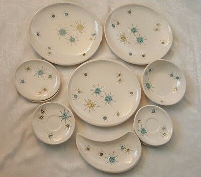 Franciscan Starburst Lot Dinner Plates, Bread Plates Bowl, Salad Plate & Saucers
