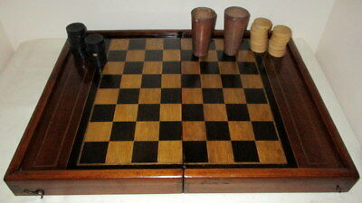 BEAUTIFUL ANTIQUE GAMES BOX with 30 COUNTERS & TWO ANTIQUE LEATHER DICE POTS