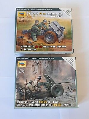 2 x Zvezda 6114 6156 German 75mm Infantry Gun Anti Tank PAK 36 Crew Wehrmacht