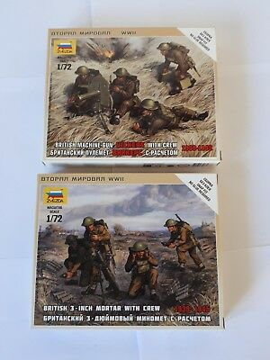 2 x Zvezda 6167 6168 British Machine Gun Vickers 3-Inch Mortar MG 1939-1945 1:72