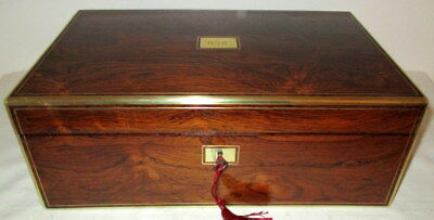 STUNNING FINE ANTIQUE ROSEWOOD & BRASS WRITING SLOPE secret drawers,key